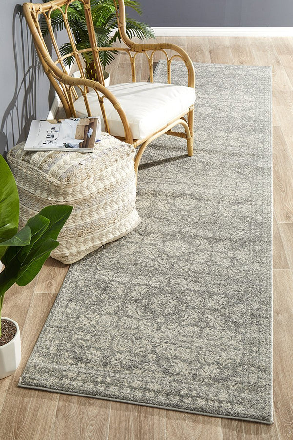 Mirage Gwyneth Stunning Transitional Silver Runner Rug - Block & Crate