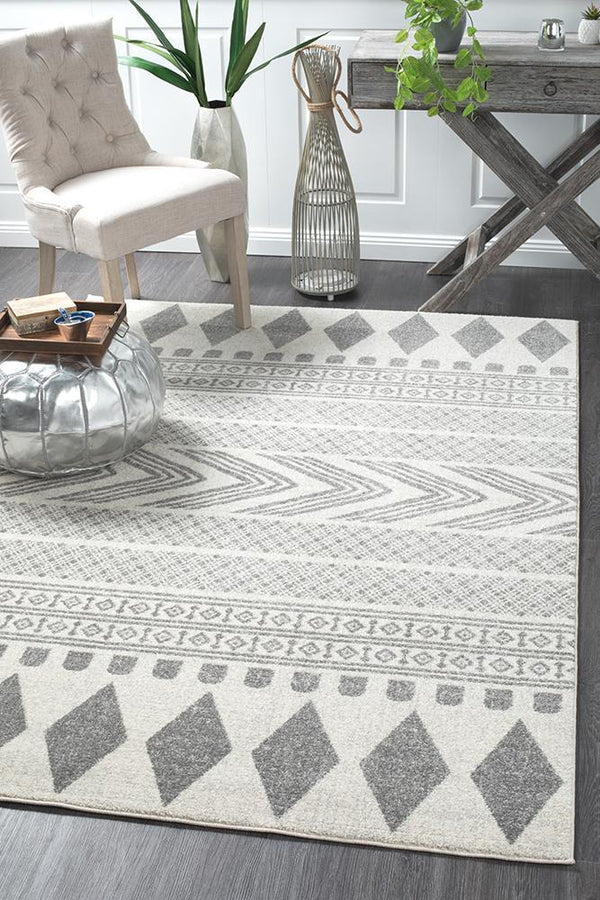 Mirage Adani  Modern Tribal Design Grey Rug - Block & Crate