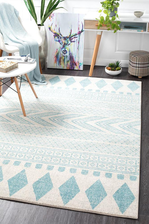 Mirage Adani  Modern Tribal Design sky Blue Rug - Block & Crate