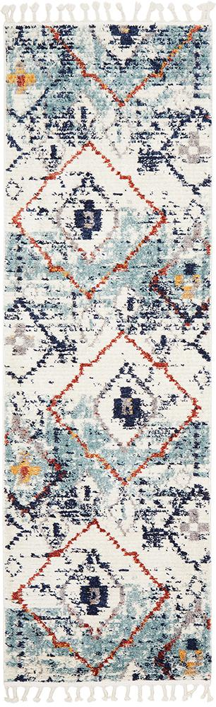Marrakesh 444 Blue Runner Rug - Block & Crate