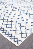 Oasis Nadia White Blue Rustic Tribal Runner Rug