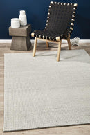 Studio Oskar Felted Wool Striped Rug Grey White - Block & Crate