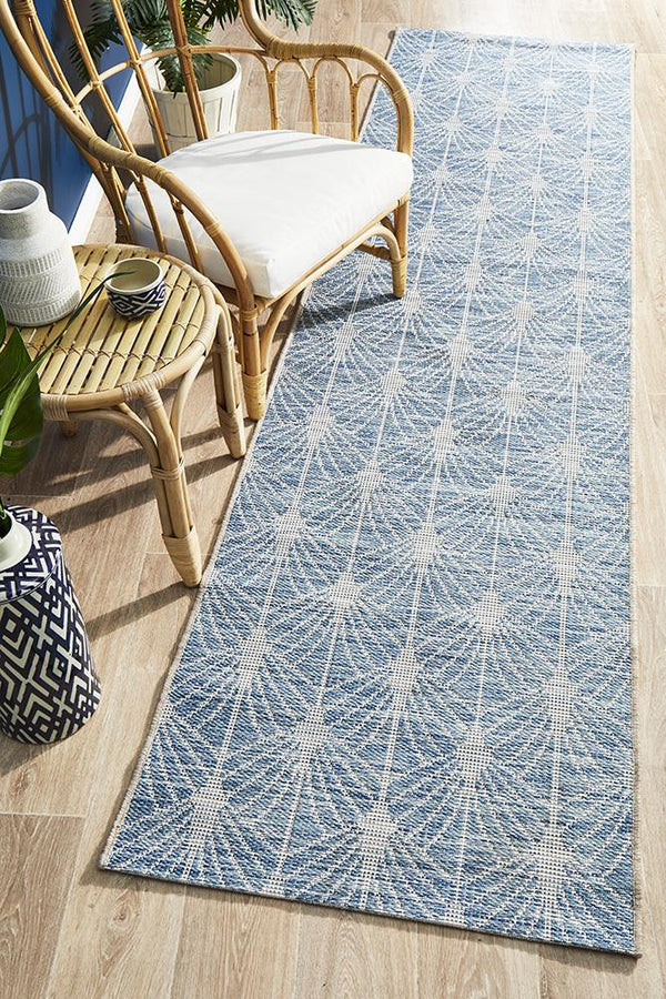 Rug Culture Terrace 5502 Blue Runner Rug - Block & Crate
