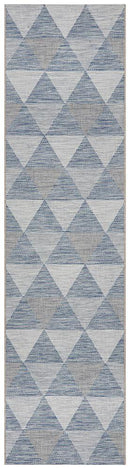 Rug Culture Terrace 5503 Blue Runner Rug - Block & Crate
