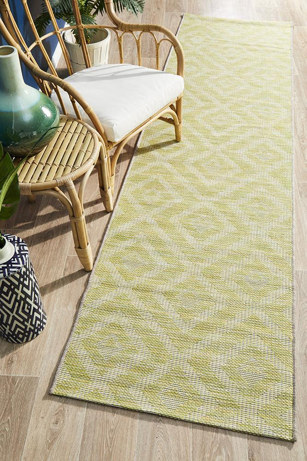 Rug Culture Terrace 5504 Green Runner Rug - Block & Crate