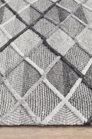 Visions Winter Grey Gravel Modern Rug - Block & Crate