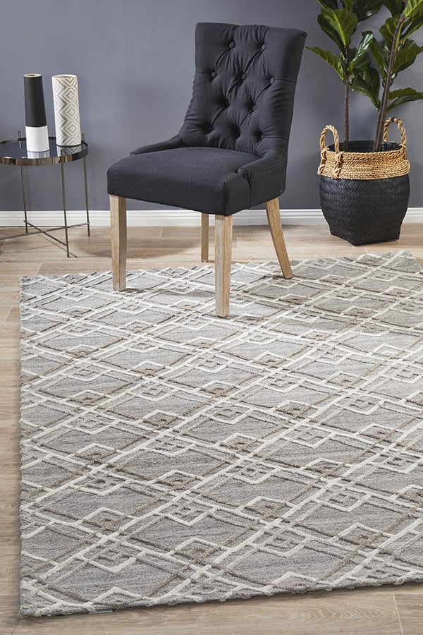 Visions Winter Silver Stream Modern Rug - Block & Crate