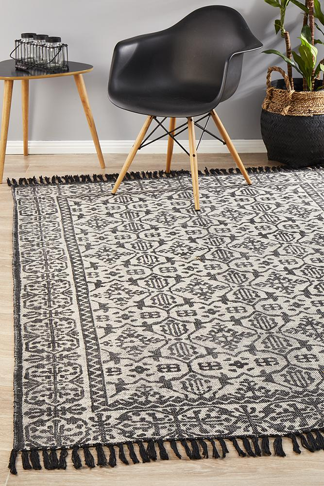 Zulu Totemic Clan Black Rug - Block & Crate