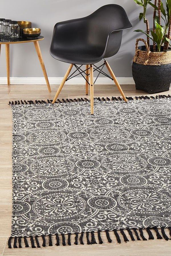 Zulu Totemic Dynasty Black Rug - Block & Crate