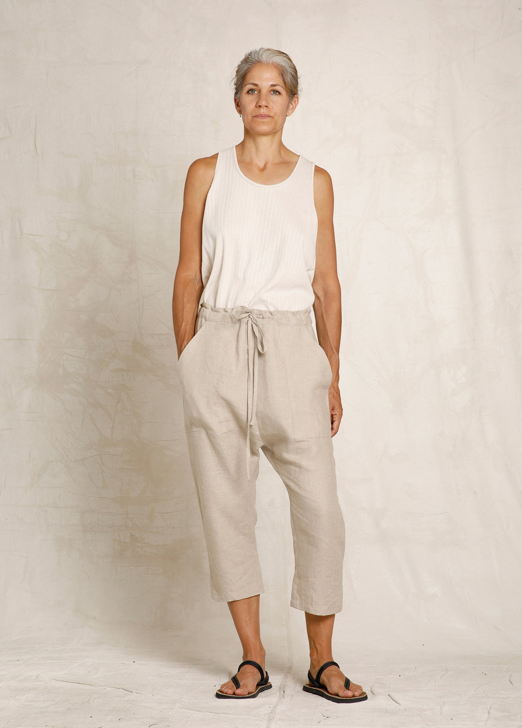 cropped natural linen drawstring pant