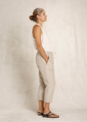 cropped natural linen drawstring pant side view
