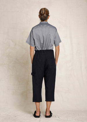 cropped dark blue linen drawstring pant back view