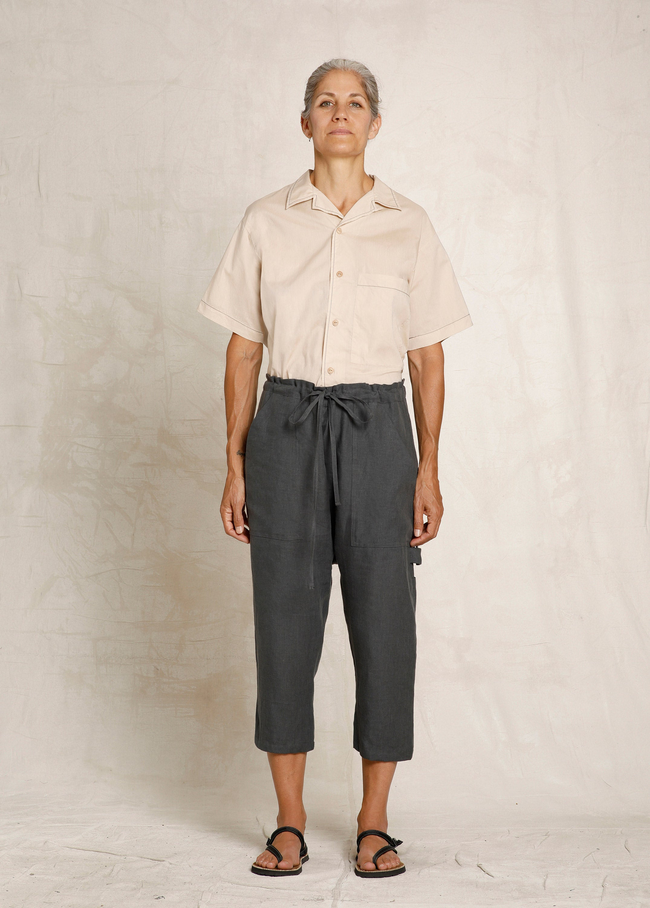 cropped slate colored linen drawstring pant