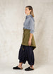 moss color short heavy linen apron side view