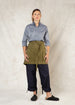 moss color short heavy linen apron front
