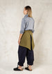moss color short heavy linen apron back