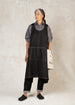 black denim pinafore apron front