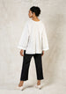 cloud white oversized long sleeve v neck cotton tunic back view
