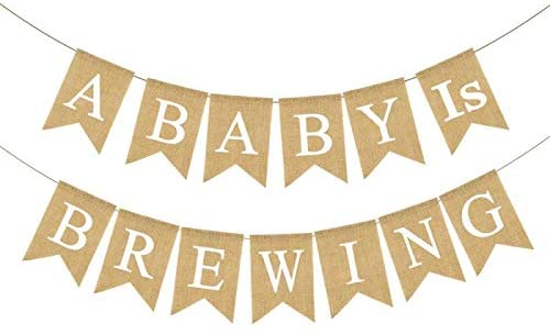 pennants saying a baby is brewing