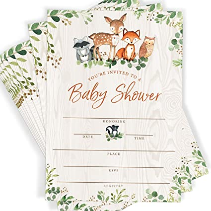 baby shower invitation with cute draws of animals in it