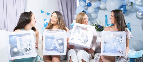 baby shower white boxes