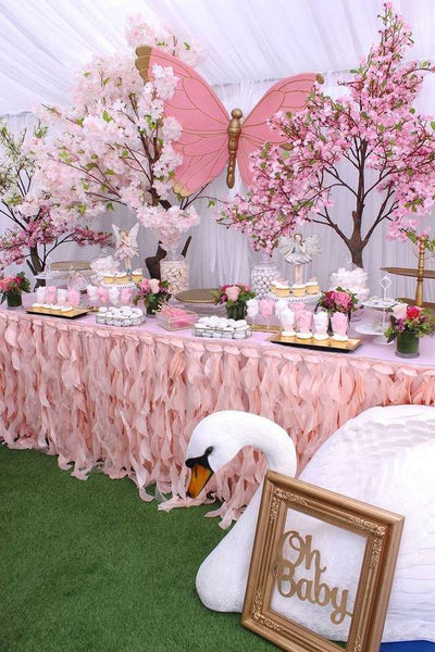 pink decoration for baby shower
