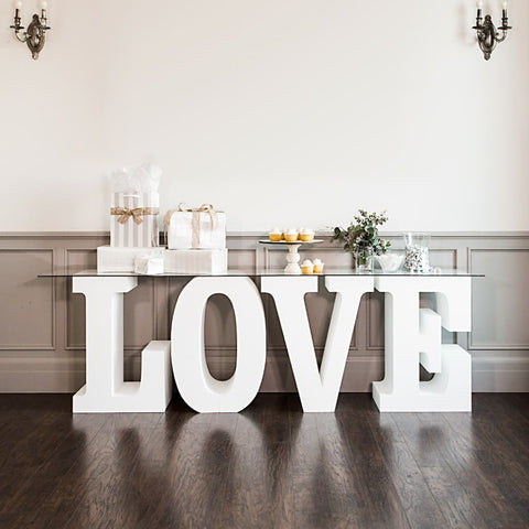 WOODEN LETTERS 'LOVE' as TABLE STAND