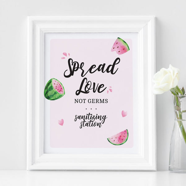 portrait with an image that says: spread love not germs