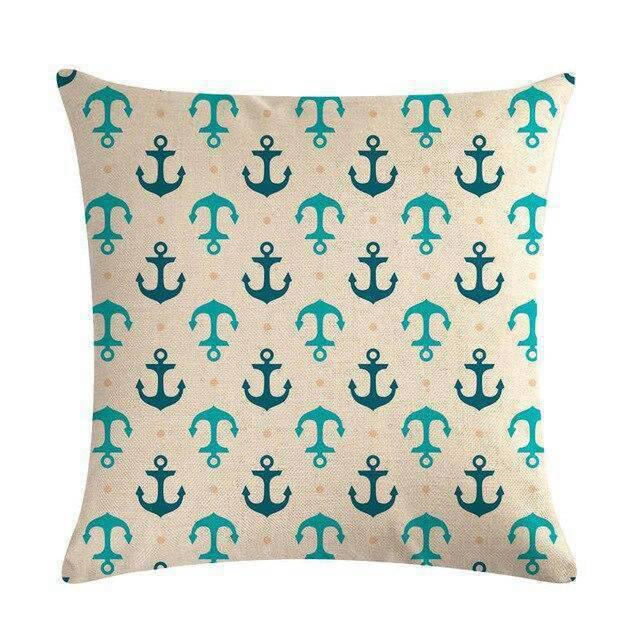 Coussin Bord de Mer Ancre Turquoise