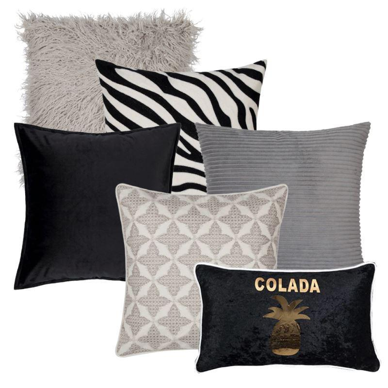Collection Piña Black 6 coussins