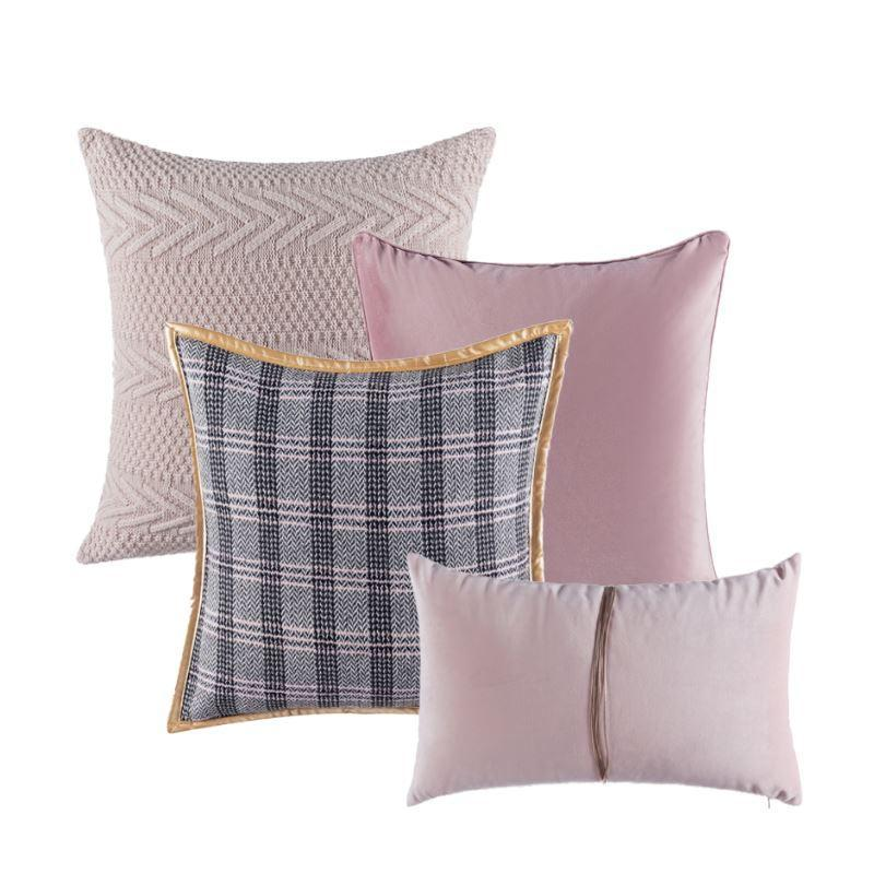Collection Jacquard Rose 4 coussins