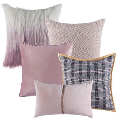 Collection Jacquard Rose 5 coussins
