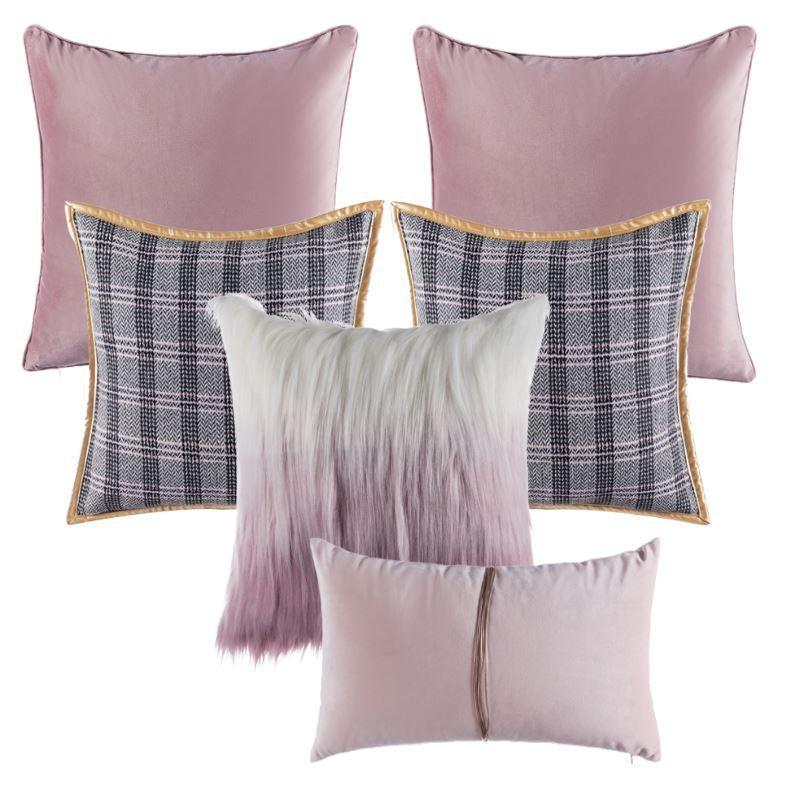 Collection Jacquard Rose 6 coussins