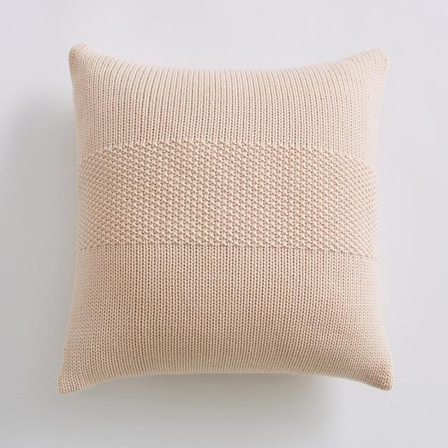 Coussin Beige Tricot