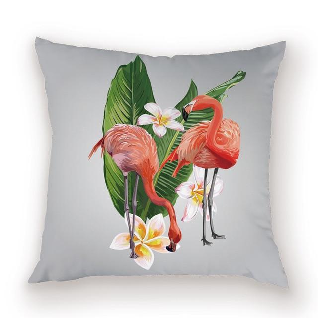 coussin flamant rose gris
