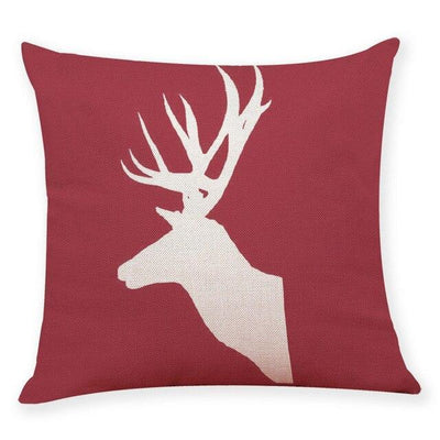 coussin rouge cerf