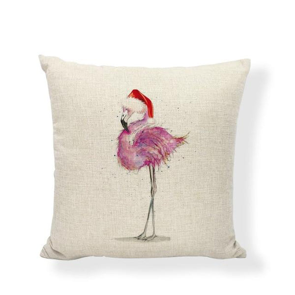 coussin noël flamant rose