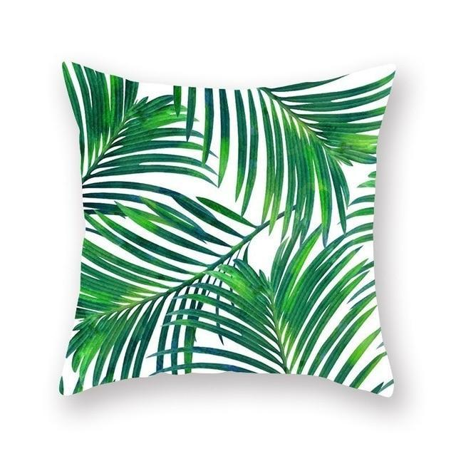Coussin Motif Feuillage Tropical