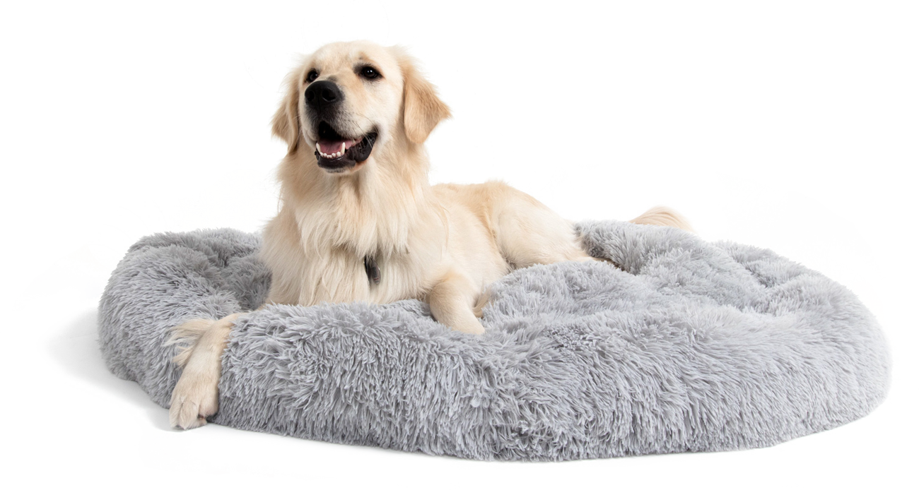 Anti-Anxiety Calming Bed for Dogs Comfy Vegan Fur Donut Cuddler Lounger Best Friends