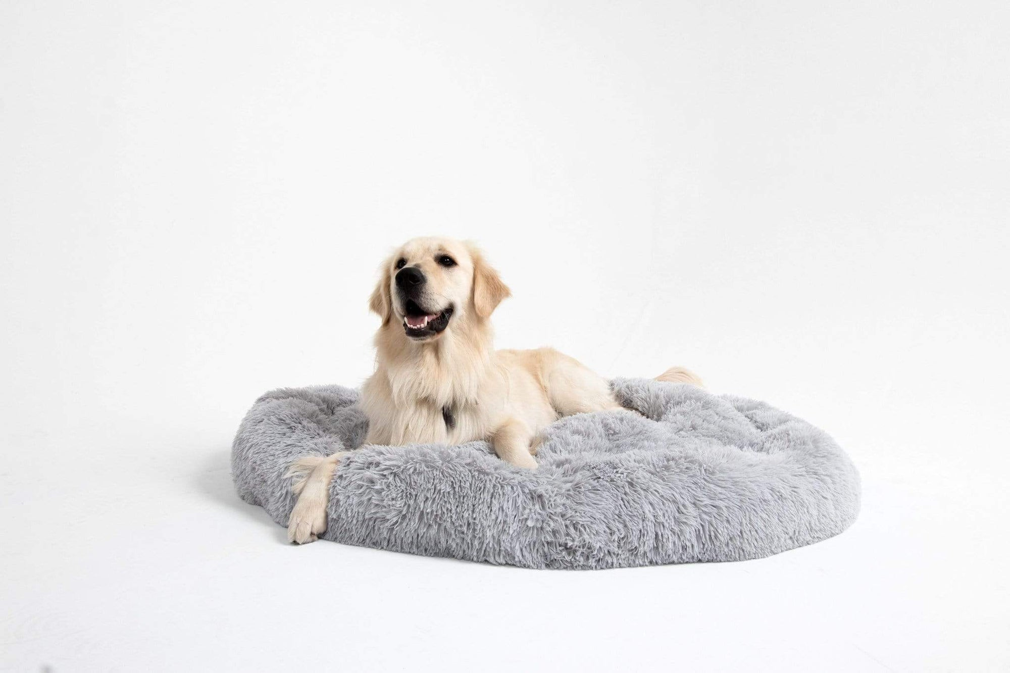 Anti-Anxiety Calming Bed for Dogs Cats Comfy Vegan Fur Donut Cuddler Lounger Best Friends