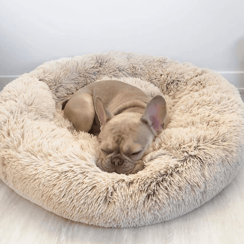 Anti-Anxiety Calming Dog Bed Vegan Faux Fur Donut Cuddler Pet Bed