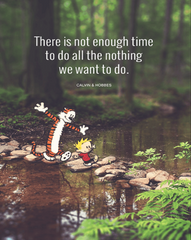 """""""There is not enough time to do all the nothing we want to do"""" - Calvin and Hobbes"""