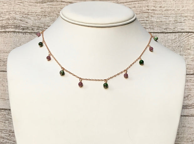 Pink Lepidolite and Ruby Zoisite Necklace