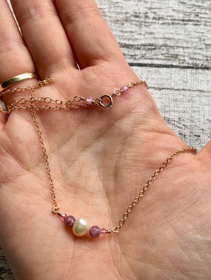 Dainty Pearl, Tourmaline and Pink Lepidolite Necklace