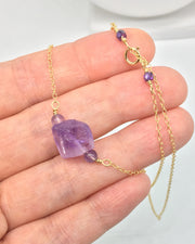 Raw Amethyst and Zircon Necklace