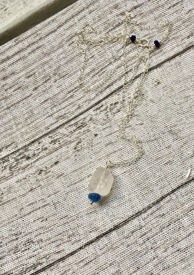 Raw Clear Quartz, Kyanite and Lapis Lazuli Necklace