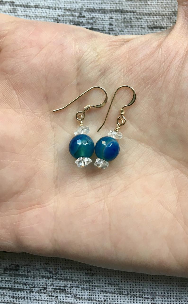 Blue Agate and Herkimer Diamond Earring
