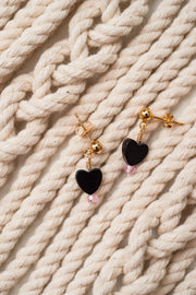 Black Onyx Heart and Zircon Bead Earring