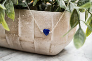 Lapis Lazuli Gemstone Heart Necklace with Herkimer Diamond Beads