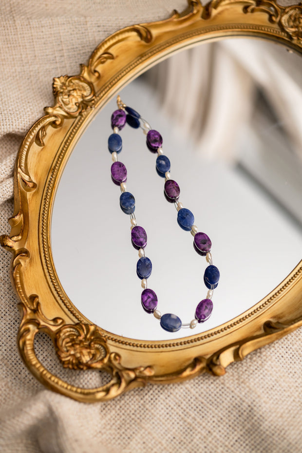 Sodalite, Crazy Purple Lace Agate and Pearl Choker Necklace